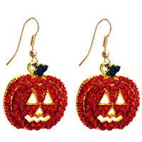 Red Orange Pumpkin Shiny Sparkle Halloween Christmas Dangle earrings E778