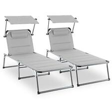 Blumfeldt Amalfi Set 2 transats Chaise longue Bain soleil pare-soleil - beige
