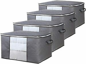 4 PCS Clothes Storage Bags Ziped Organizer Underbed Wardrobe Cube Boxes Closet