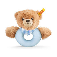 Steiff Sleep Well Bear Blue Baby Plush Rattle NEW IN STOCK