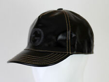 GUCCI WOMEN'S BLACK PATENT LEATHER HAT BASEBALL CAP SIZE L