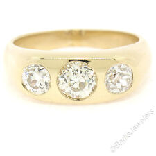 Mens Antique 14K Gold 1.95ctw 3 Burnish Old Mine Cut Diamond Gypsy Band Ring