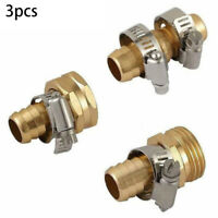 3pcs Brass Hose Tap Connector 5/8 Threaded Garden Water Pipe Quick Adaptor Set