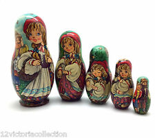 LITTLE RED RIDING HOOD Fairy Tale Russian Hand Carved Hand Painted Nesting Doll