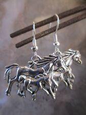 Mother Horse & Baby Foal Earrings .925 Sterling Silver Ear Wires-Equestrian