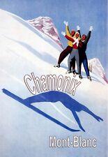 A3 viaje arte cartel impresión de esquí de Chamonix Mont-Blanc