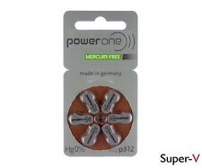 60 PowerOne Hearing Aid Batteries Size 312 MERCURY FREE, PR41 Brown Tab