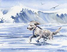 Golden Doodle Art Print Beach Goldendoodle Dog Watercolor 8 x 10 Signed Djr