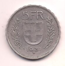 1931-B Switzerland Silver Five Francs---Very Strong Details!!