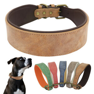 Wide Leather Dog Collar Soft Padded Adjustable Collars for Medium Large Breeds