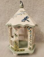 """Kathy Hatch Dragonfly Floral 10.25"""" Wooded Gazebo Hanging OR Table Top Figurine"""