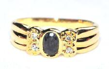 Bague couleur or cristal blanc et bleu foncé T 54 bijou ring