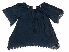 Staccato Women's Lace & Tassel Blouse Navy Small NWT