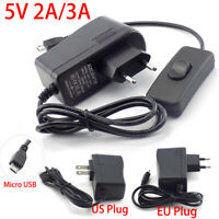 AC/DC 5V 2A/3A Power Supply Adapter Charger Micro USB Plug Raspberry Pi Zero Pc