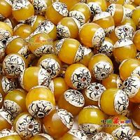 Wholesale 10 Big Nepal 12X10mm 925 Sterling Silver Repousse Beeswax Amber Beads