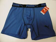 PUMA COMPRESSION BRIEFS UNDERWEAR NWT SMALL BLUE w/BLACK WAIST PUMA ON LEG B110
