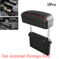 Universal PU Leather Car Armrest Arm Rest Centre Console Storage Box w/Data Line
