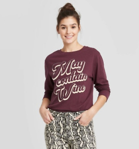 Women's Long Sleeve May Contain Wine Graphic T Shirt Burgundy Zoe & Liv NWT