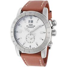 Glycine Men's GL0149 Airman 42 GMT 42mm Quartz Ivory Dial Brown Leather Watch