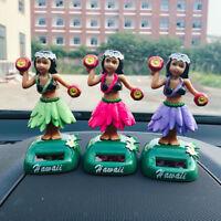 3Pcs Solar Toy Dancing Hawaii Girl Dancer Home Shop Car Dashboard Decor #B