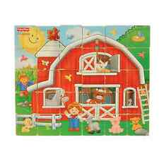 Fisher-Price Real Wood 30-Piece ABC Puzzle Block Set and Farm Scene Age 3 and Up
