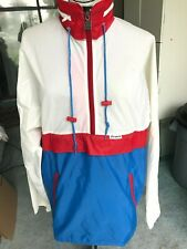 Vintage Medium K-Way Packable Windbreaker Jacket 1/4 Zip Red White Blue SZ 8