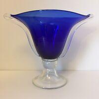 Large Blue Murano Glass Bowl Vase Bon Bon Dish Fruit Bowl Hand Blown
