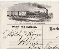 RARE 1872 Boston & Providence Railroad MA RI RR Billhead - Burton Brewery Train