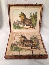 Victorian Vintage Wooden Block Jigsaw Puzzle in Original Box - Animal Scenes