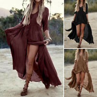 ZANZEA 10-24 Women Long Maxi Sundress Kaftan High Split Button Up Shirt Dress