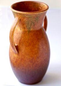 """ROSEVILLE POTTERY 10 1/2"""" TERRA COTTA WINDSOR #554-10 HANDLED VASE Circa 1931"""