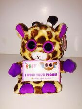 "TY JESSE GIRAFFE 3 1/2"" PEEK-A-BOOS SMART PHONE HOLDER-NEW WITH TAG**IN HAND**"