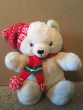 1987 K-Mart White Christmas Teddy Bear With Hat & Scarf Vintage Dan Dee