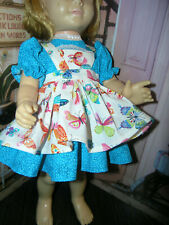 "3 Pc Set Dress Butterfly Print Apron 19-20"" Doll clothes fit Mattel Chatty Cathy"