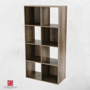 Storage Organizer Bookcase 8 Cube Home Office Display Bookshelf Shelves Rustic