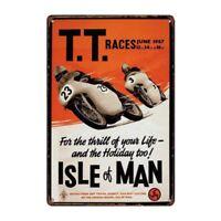 Metal Tin Sign  TT RACES isle of man  Decor Bar Pub Home Vintage Retro Poster