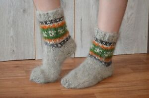 Hand-knitted natural socks, socks hand knit pure wool / Knitted warm socks