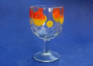 VINTAGE 1970'S GLASS GOBLET WITH HAPPY FACE DECOR, UNBRANDED, CLEAR GLASS