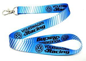 VW DUB RACING BLUE POLO GOLF PASSAT GTI R32 Lanyard Neck Strap keyring badge