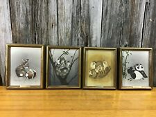 Set of 4 original vintage animal oil paintings PEGGY HARRIS signed inscribed and