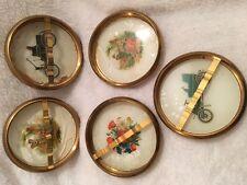 Coasters Vintage Brass & Glass Coaster Ashtray Trinket tray Set of 5
