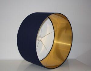 Lampshade, Indigo (Navy) Blue cotton Fabric with Brushed Gold Lining