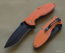 TACTICAL WOOD HANDLE SPRING ASSISTED RESCUE KNIFE WITH POCKET CLIP