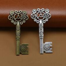 3/10/100pcs/lots Retro alloy Skeleton Steampunk Cogs Gears Key Charm Pendant