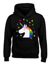 Kid's Autism Hoodies for Kids Multicolored Unicorn Hooded Youth Sweatshirt