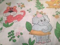Vintage Cannon Monticello Jungle Elephant Child Twin Bed Sheet Craft Fabric
