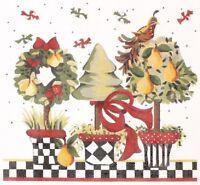 "Needlepoint Handpainted Kelly Clark CHRISTMAS Peary Topiary 9"""