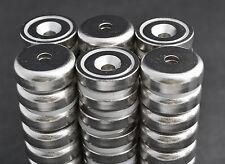 "10 pcs POT MAGNETS 30lb/14kg PULL FORCE 1"" x 5/16 25X8mm N35 NICKEL COATED"