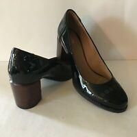 Clarks Artisan Women's Black Patent Leather Block Heel Pumps Shoes Size 7M