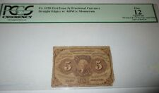 $.05 First Issue Fractional Currency Obsolete Bank Note Bill! 5c Cent FINE PCGS
